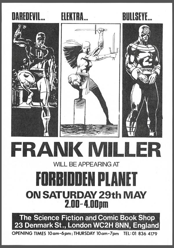 Forbidden Planet flyer Frank Miller