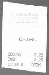 Forbidden Planet receipt