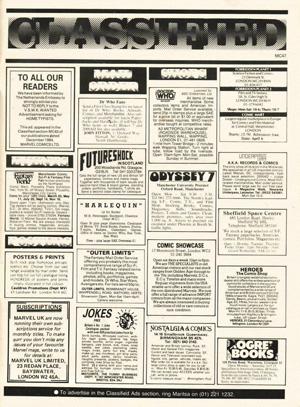 Marvel UK Indiana Jones #07 classified ads s